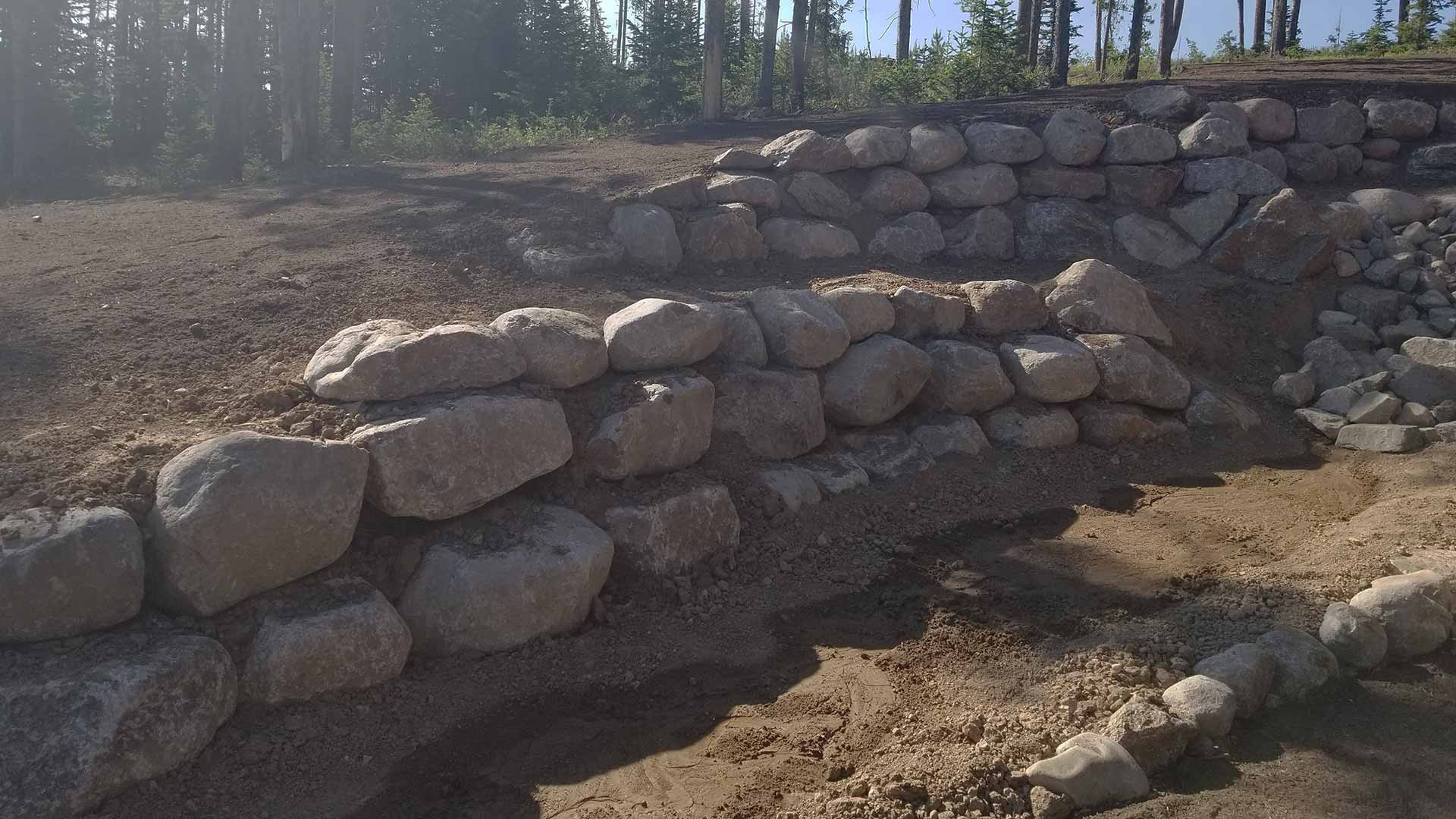 Custom stone retaining wall in Colorado.