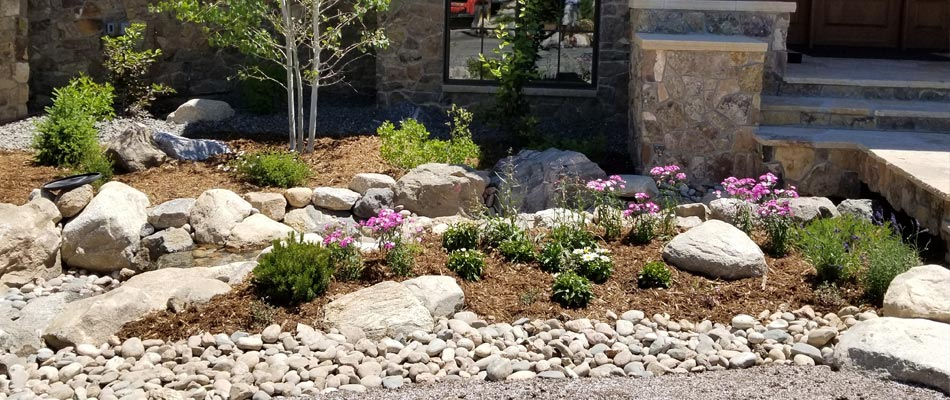 Landscaping installed by our team after a consultation and 3D design at a home in Winter Park, CO.