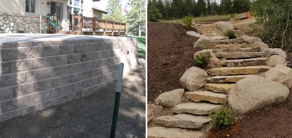 Siloam stone steps installed at a residential property in Tabernash with boulder border and retaining wall installation.
